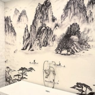 Wallpaper mural Sumi by @coordonne installed at a private residence 🛁. More reason to relax longer in the bath.