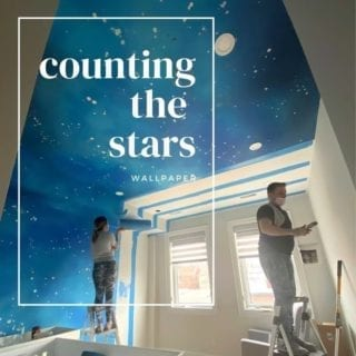 "Look up the stars as they shine for you ⭐️. Wallpaper galore - this design called ""Counting The Stars"" by @coordonne installed at a private residence's nursery space."